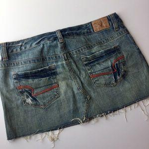American Eagle denim frayed mini skirt